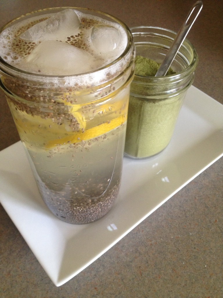 Electrolyte Chia Lemonade (with just a tiny pinch of raw organic stevia powder) - I was hesitant about this one at first because that was A LOT of chia seeds, but we both loved it! Slightly sweet, filling, and packed with nutrients.