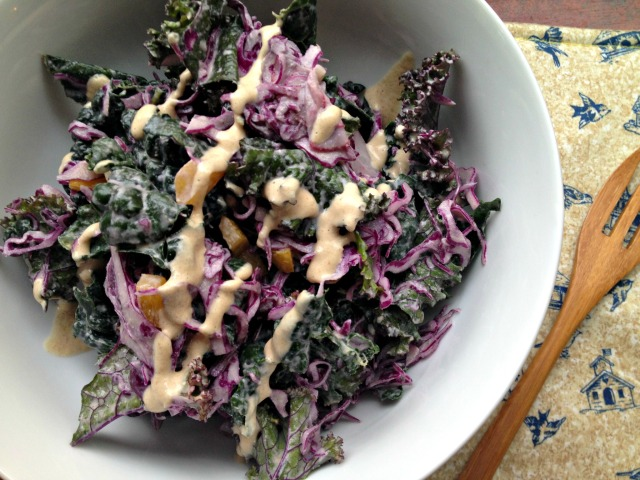 RECIPE: Raw Kale Salad with Garlic Chipotle Tahini Dressing // Be Sol-Ful